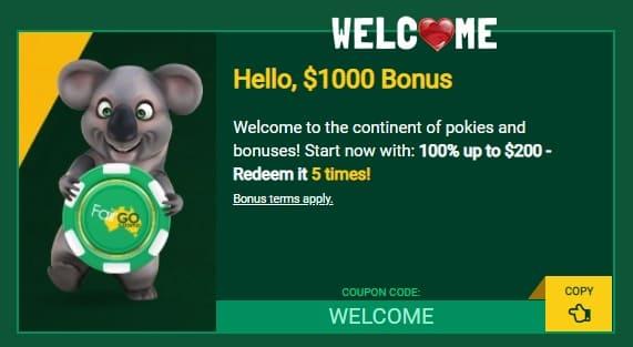 Fair Go Casino Welcome Bonuses