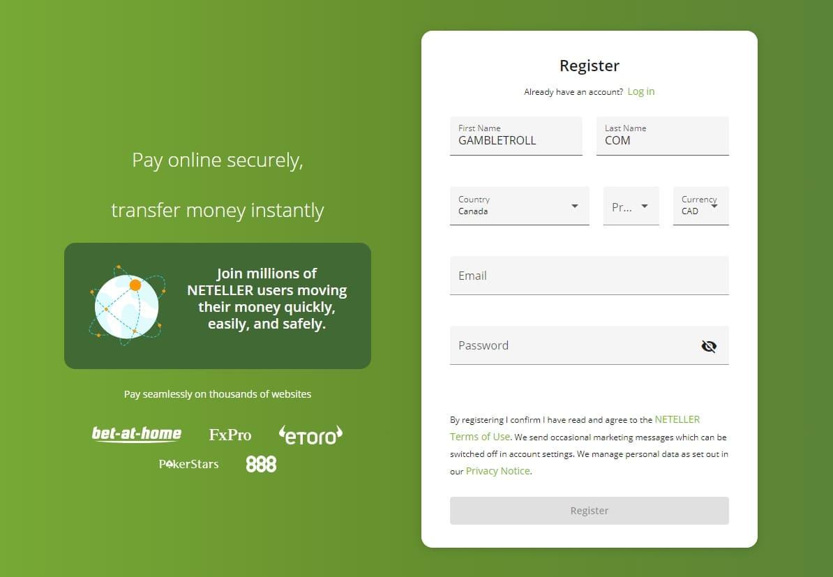Neteller Account Registration