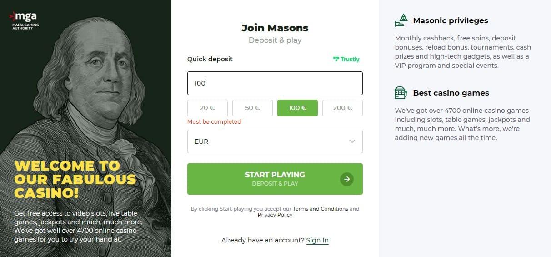 Mason Slots Quick Deposit