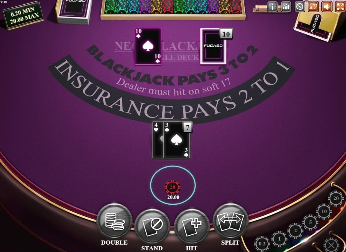 Neon Blackjack Table